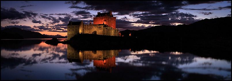 Light on Eilean Donan Castle, Loch Duich, Dornie, Lochalsh, Scotland