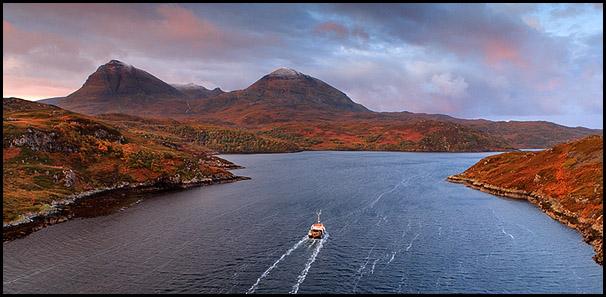 Boat, Loch Glendhu. Quinag, Kylesku, Sutherland, Highlands, Scotland
