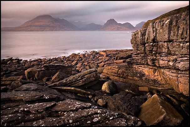 Pink light, Loch Scavaig, Cuillin Hills, Elgol, Isle of Skye, Scotland